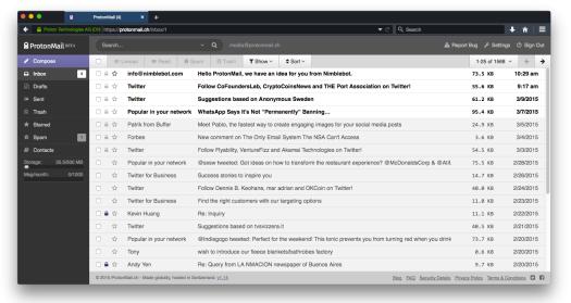 ProtonMail Inbox 2015